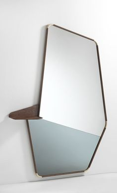 Floor mirror to be fixed to the wall with shelf in solid canaletta walnut and details in natural maple. The upper part is in clear mirror, while the bottom one is in smoked mirror. Small Wall Mirrors, Living Room Mirrors, Bathroom Mirrors, Dressing Table Mirror Design, Spiegel Design, Mirror Inspiration, Mirror Ideas, Floor Mirror, Mirror Glass