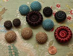 Vintage Covered Button Lot Passementerie Trim Ribbonwork Flower Center Italy MDE | eBay
