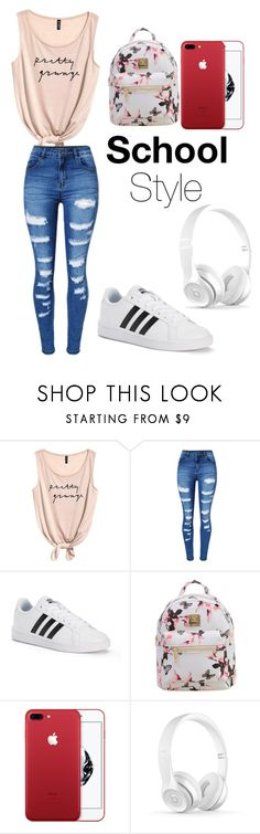 """Casual school outfit"" by gabs129-1 ❤ liked on Polyvore featuring WithChic and adidas"