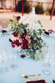 Dusty Blue, Burgundy & Blush Modern Vintage Wedding|Photographer: Kate Olson Photo