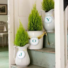 "Fresh miniature evergreens spread Christmas cheer in an unexpected way. Pot a few of the fragrant plants in white pots and pitchers. Embellish the vessels with a short Christmas message, such as ""Joy"" or ""Noel,"" by attaching one letter (printed on or glued to cardstock) to each container with ribbon, yarn, or twine   Christmas decor"