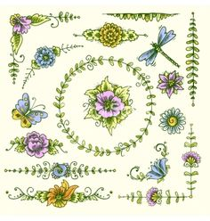 Vintage decorative elements color vector flower floral by macrovector on VectorStock®