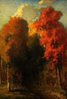 The deep colors and mystery draws one into this work by August D Turner, 22x16 Oil on Board
