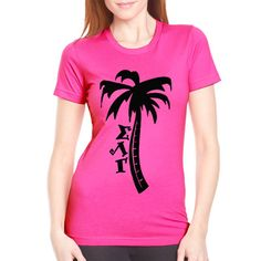 "Screen-Printed Sorority Recruitment Shirts ""Palm Tree- Greek Symbols"" Design $8.90 #Greek #Sorority #Clothing #Recruitment #Rush"