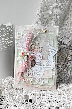 "Скрап-ХоббиМания: Card ""Happy birthday"" - Shabby"