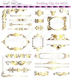 GOLD Vintage Frames Ornate Digital Clipart DIY by MSweetboutique, $5.99