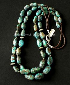 Nevada Turquoise Ovals Necklace with Pyrite Nuggets, Olive Shell Heishi, and Oxidized Sterling Silver Rondelles Silver Pendant Necklace, Silver Necklaces, Beaded Necklace, Strand Necklace, Silver Earrings, Silver Jewelry, Jewelry Necklaces, Jewellery, Sterling Jewelry