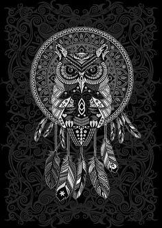 indian native Owl Dream catcher  Posters #posters #homedecor #wallpaper #digital #colored #pencil #pattern #vintage #blackwhite #ravenclaw #hawk #eagle #animal #bird #tattoo #mayan #indian #americannative