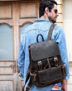 eba8f6b5a802 Cool Leather Mens Backpack Large Vintage Travel Bag for Men