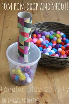 Pom Pom Drop and Shoot: Toddler Play - The Imagination Tree Motor Skills Activities, Sensory Activities, Infant Activities, Fine Motor Skills, Activities For Kids, Toddler Fine Motor Activities, Play Activity, Learning Activities, Toddler Play