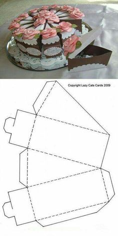 """Strangely, I can see a lot of uses for this paper cake slice template, haha. Strangely, I can see a lot of uses for this paper cake slice template, haha. Individual """"pumpkin pie slices"""" as Than Diy Gift Box, Paper Gift Box, Diy Box, Diy Gifts, Gift Boxes, Paper Crafts Origami, Cardboard Crafts, Diy Paper, Diy And Crafts"""