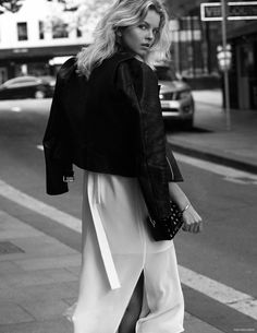 C/Meo Collective White Dress, Sir the Label Leather Jacket, Bag Alexander Wang White Fashion, Modern Fashion, 90s Fashion, Fashion Art, Fashion Outfits, Street Mode, Street Style, Street Fashion Shoot, Goth Chic