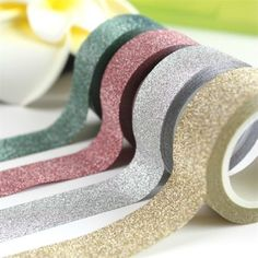 10m Glitter Washi Sticky Paper Masking Adhesive Tape Label DIY Craft Decorative #Unbranded