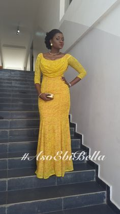 2015 Nigerian Fashion Yellow Lace Prom Dress Scoop Long Sleeves Mermaid Floor Length Wedding Bride P African Lace Dresses, African Dresses For Women, African Attire, African Fashion Dresses, Nigerian Fashion, Ghanaian Fashion, African Women, Nigerian Lace Dress, Nigerian Clothing