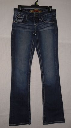 Womens Junior Size 1/2 Reg Maurices Dark Wash Distressed Bootcut Jeans #Maurices #BootCut