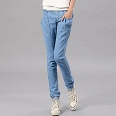 Women's Skinny Denim Cropped Harem Jeans Pants