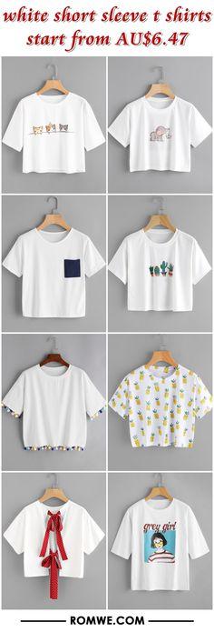 white short sleeve t shirts from AU$6.47 - romwe.com