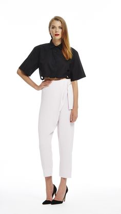 Ball Boy Cropped Shirt - Black & Cross Over Pant - Lavnder