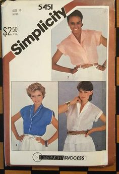 Vintage SIMPLICITY Sewing Pattern 5451 Overnight Success Misses Shirt Blouse 16