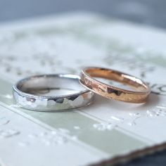 Pt,K18PG / marriage ring 槌目とミルグレインの幅広リング。 プラチナとピンクゴールドの色違い [ピンクゴールド,結婚指輪,ウエディングリング,wedding,gold]
