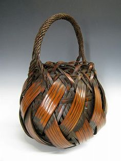 Japanese basket of woven bamboo at www.Jcollector.com