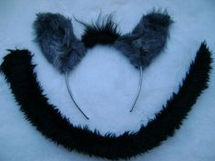 Details about The Lion King Hyena Ears & Tail Set Dress Up Grey Faux Fur  Fancy Dress Unisex
