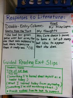 Guided Reading from Middle School Teacher to Literacy Coach--good idea for exit slips during guided reading