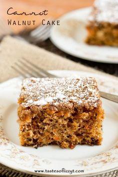 carrot walnut cake / carrot snack cake / easy homemade carrot cake recipe / cake with carrots / snack cake / walnut cake / spice cake / 8x8 via @tastesoflizzyt