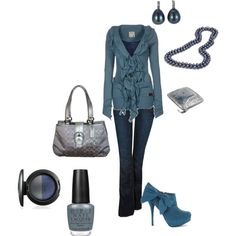 """shades of blue"" by cami-woods-aley on Polyvore - muted soft autumn/winter look for Soft Summer"