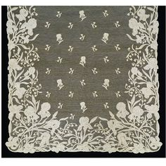 Stole | Burano Lace School | V&A   Irises and lily of the valley.  Needle lace worked in linen thread.
