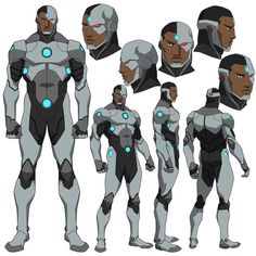 the beat down Cyborg received at the hands of Doomsday in Death of Superman and I thought he could use an upgrade. Cyborg Dc Comics, Rogue Comics, Arte Dc Comics, Character Model Sheet, Character Modeling, Comic Character, Superhero Characters, Dc Comics Characters, Dc Animated Series