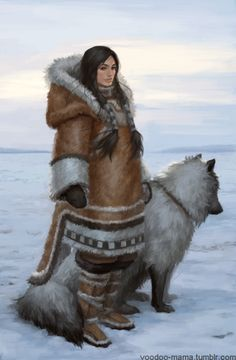 Inuit and her dog, character illustration Fantasy Kunst, Fantasy Rpg, Dark Fantasy, Dnd Characters, Fantasy Characters, Female Characters, Character Concept, Character Art, Concept Art