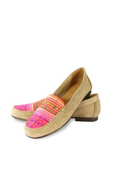 Handmade moccasins with a unique combination of suede and flower Hmong handwoven textile. Available at www.kiboots.com