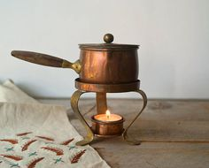Vintage Copper and Brass One Cup Sauce Warmer Mini by 5gardenias