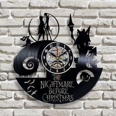 New Vinyl Record Wall Clock Nightmare Before Christmas Jack and Sally Classic  #Unbranded
