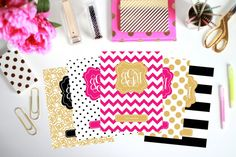Printable Binder Inserts - Set of 5 Binder Covers - Personalized Monogram Binder Cover and Spine Text (8.5x11in) - Instant Download