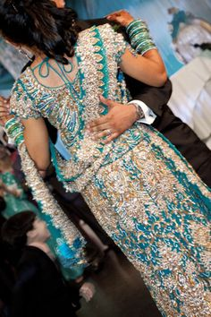 Lengha (teal) for wedding reception