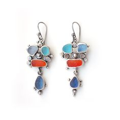 Blue and Orange Rockpool Sea Glass Earrings by Tania Covo