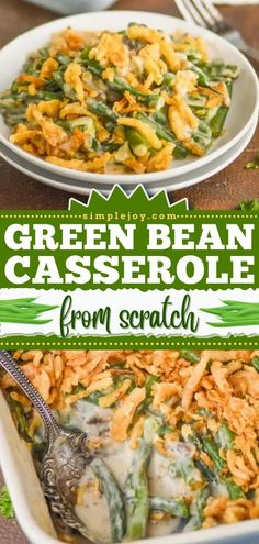 Nothing beats a homemade Thanksgiving side dish! Baked in creamy, saucy goodness, this fresh green bean casserole from scratch is the BEST. Make-ahead instructions for this Thanksgiving dinner recipe included! Thanksgiving Dinner Recipes, Thanksgiving Side Dishes, Fresh Green Bean Casserole, Casserole Recipes, Green Beans, Frozen, Homemade, Chicken, Baking