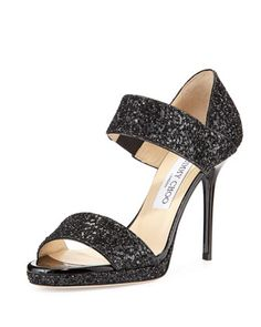 Alana Double-Banded Glitter Sandal, Black by Jimmy Choo at Neiman Marcus.