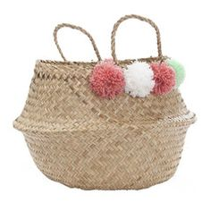 Storage . Belly Basket - Large / Pompom Pink