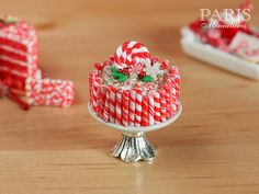 Christmas Peppermint Stick Cake on Stand - 12th Scale Miniature Food