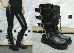 Punk Rock Emo Gothic Black biker boots shoes EUR 34 45 | eBay