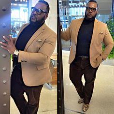 sleekly debonair, with a dash Mens Plus Size Fashion, Chubby Men Fashion, Large Men Fashion, Mens Fashion Suits, Look Fashion, Guy Fashion, Plus Size Men, Moda Plus Size, Big And Tall Style