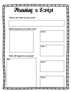 Planning a Script Play Screenplay Story Board Graphic Organizer ELA Writing A Movie Script, Writing Advice, Writing A Book, Play Scripts For Kids, Skits For Kids, Drama Teacher, Drama Class, Middle School Drama, Hollywood Theme Classroom