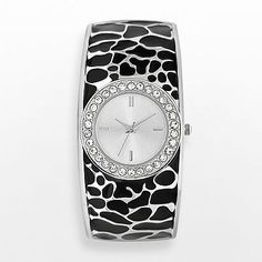 (Geneva Silver Tone Simulated Crystal Leopard Bangle Watch - 5003KOL kohls) the related yin yang personality/color/style systems have similar jewelry recommendations. several authors recommend for #winter  / #type4  = polished silver, large size, contrast, stillness, faceted stones with sparkle. abstract shapes mentioned by some. certain leopard prints mentioned by one. I think it is because leopard spots look like abstract shapes.