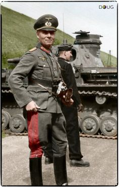 3rd Reich LDR Major General Erwin Rommel, and an early Panzer IV of the 7th Pz Div in France, May 1940.