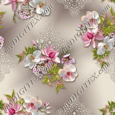 Print Fabrics, Sd, Printing On Fabric, Digital Prints, Floral Wreath, Designers, Textiles, Orange, Classic