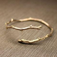 Bracelet doré branche / gold branch / twig bangle bracelet
