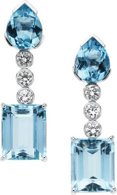 Aquamarine, Diamond, White Gold Earrings--Oh these are so pretty.It's hard to find aquamarine jewelry that is stylish. I Love Jewelry, Fine Jewelry, Jewelry Design, Jewellery, Silver Jewelry, Pandora Jewelry, Jewelry Necklaces, Saphir Rose, Bling Bling